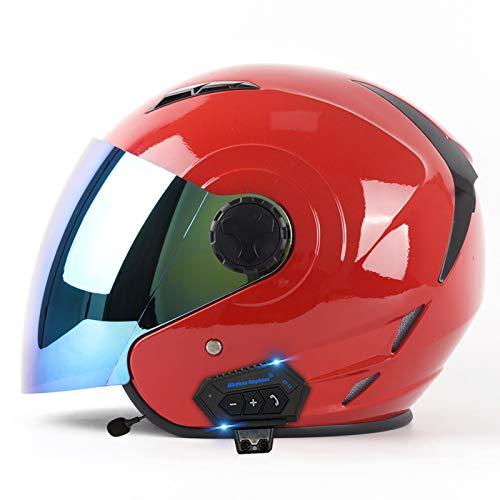 Bluetooth Open Face Helmet Motorcycle Half Helmet DOT/ECE Approved Motorbike Crash Helmet with Sun Visor Retro Vintage Style Motorbike Vespa Jet Helmet for Chopper Scooter Cruiser D,L(59~60cm)