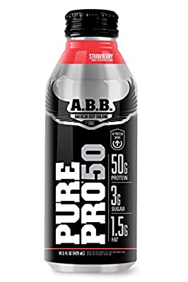 American Body Building Pure Pro 50, Post-Workout Recovery Protein Shake, Muscle Builder, HI-Protein, Low Fat, Low Sugar, Cookies and Cream Flavored, Ready to Drink 18 oz Bottles, 12 Count