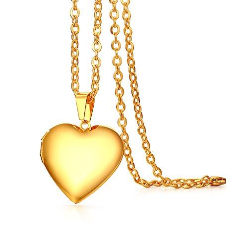 JewelryWe Bijoux Pendentif Collier Femme Fille Coeur Cadre de Photo Graver Personnaliser Chaîne 45cm Acier Inoxydable Doré Fantaisie avec Sac Cadeau