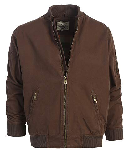 Gioberti Men's Sportwear Full Zipper Twill Bomber Jacket, Brown, S