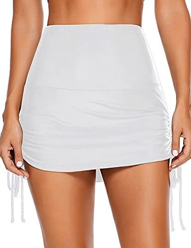 GRAPENT Women's High Waist Ruched Swim Skirt Swimsuit Bikini Tankini Bottom White Size XL