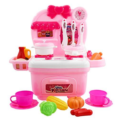 Hyselene Küche Spielzeug, Kinder Kochen Lebensmittel Spielset für Mädchen 3 Jahre, Kinder Küchen Rosa mit Speicher Kochfeld, Geschirr, Kochgeschirr, Gemüse