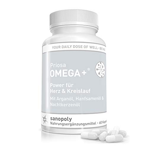 SANOPOLY Priosa® OMEGA+ 60 Kapseln I Stärkung des Herz-Kreislauf-Systems I Mit Omega-3 & Omega-6 Fettsäuren, Vitamin A + D + E + K2 & rare Ölen I Alle wichtigen Fettsäuren