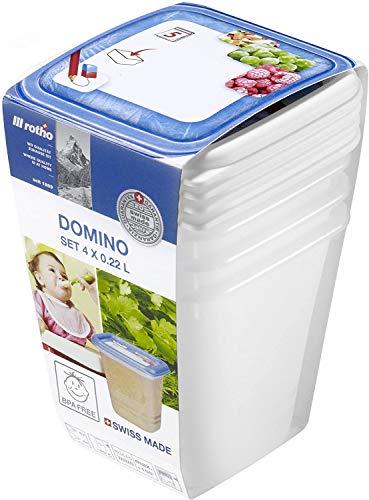 Rotho Domino 4er-Set Gefrierdose 0,22l mit beschreibbarem Motiv auf dem Deckel, Kunststoff (PP) BPA-frei, weiss, 4 x 0,22l (8,0 x 8,0 x 11,8 cm)