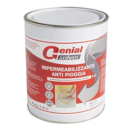GENIAL SOLVER IMPERMEABILIZZANTE TRASPARENTE ANTI-PIOGGIA - Impermeabilizzante per Balconi e Terrazzi (0,75 litri)