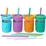 4 Pack Kids & Toddler Cups - 8 OZ Glass Mason Jars Spill Proof Smoothie Snack Cups with Leak Proof Regular Lids & Silicone Straws, Sleeves, Stoppers - BPA FREE Baby Sippy Cup Kid Tumbler for Drinking
