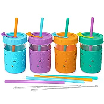 4 Pack Kids & Toddler Cups - 8 OZ Glass Mason Jars Spill Proof Smoothie Snack Cups with Leak Proof Regular Lids & Silicone Straws Sleeves Stoppers - BPA FREE Baby Cup Kid Tumbler for Drinking