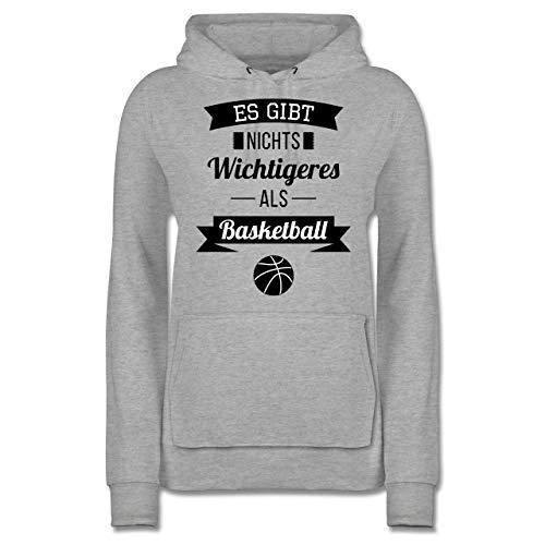 Basketball - Es gibt Nichts Wichtigeres als Basketball - S - Grau meliert - Basketball Pulli - JH001F - Damen Hoodie und Kapuzenpullover für Frauen