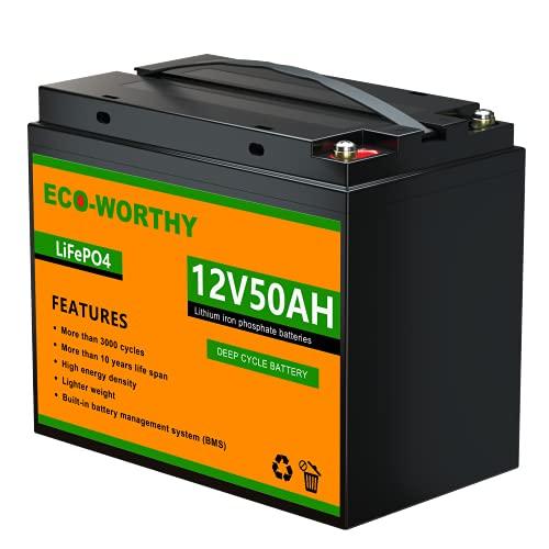 ECO-WORTHY 12V 50Ah LiFePO4 Akku Lithiumbatterie wiederaufladbar mit über 3000 Mal Tiefzyklus und BMS-Schutz für Wohnmobile, Boote, Solaranlagen, Windanlagen, industrielle Anwendungen & Rollstuhl