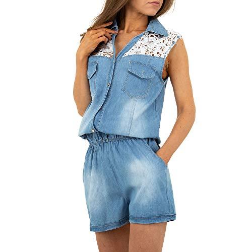 Ital-Design Damen KURZER Jeans Jumpsuit Overall M.Sara Denim Gr. M Hellblau