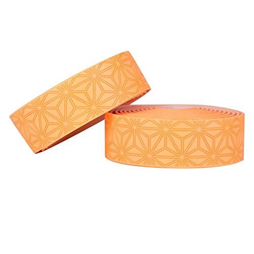 自転車バーテープ ハンドルバーテープ グリップテープ PU素材 ロードバイク用 防水 滑り止め エンドキャップ付 左右2個セット 耐摩耗 取り付けやすい(オレンジ)