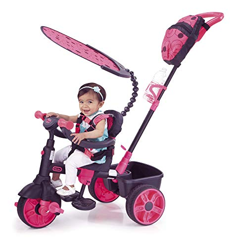 Little Tikes 4-in-1 Deluxe Edition Trike - Three-Wheeled Tricycle for Toddlers - Ages 9 Months to 3 Years - All Day Active Play - Neon Pink