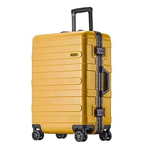 Mdsfe Maleta rígida con Marco de Aluminio de 20'24' 29'Pulgadas con Ruedas abs Spinner Cabina Trolley Equipaje para Viajar - Amarillo, 26'