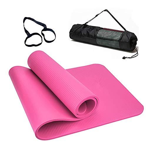 Esterilla Yoga Esterilla Pilates Antideslizante 10mm Alfombrilla de Yoga Colchoneta de Yoga Esterilla Deporte Yoga Mat para Pilates Yoga Fitness 183x61cm (10MM-Rosa)