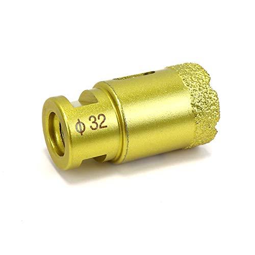 Snowtaros Broca de Diamante, Corona de Perforación de Diamante M14 para Amoladora Angular, para Porcelana, Azulejos, Granito, Gres, Mármol, en Seco (32mm)