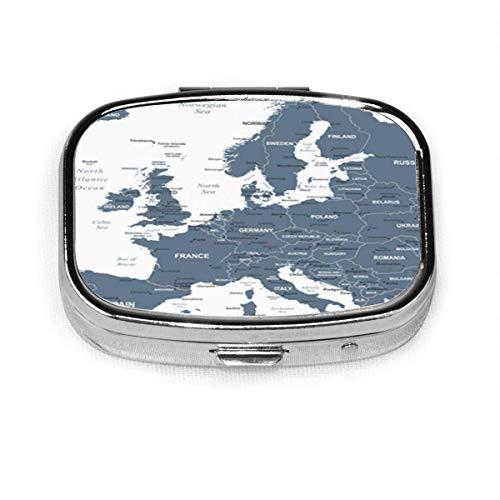 Gris Austria mapa de Europa detallada Bélgica ciudades capitales City Square Pastillero Cajas decorativas Pastillero Medicina Tablet Ho