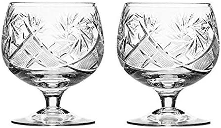 Set of 2 Hand Made Vintage Snif Outstanding Crystal Brandy Direct stock discount Cognac Glasses