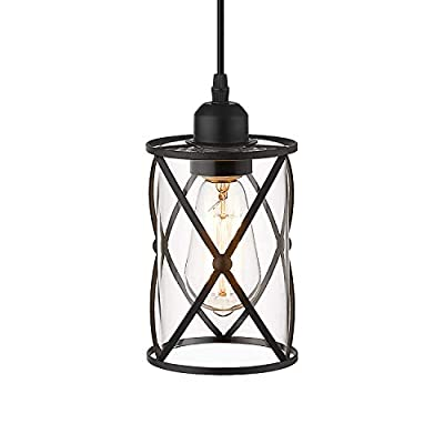 Osimir Cylinder Cage Pendant Light, Industrial Hanging Lights for Kitchen, Kitchen Pendant Lights in Black Finish with Clear Glass, Adjustable Length, CH9176-1