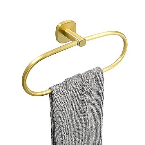 Toallero de anillo para baños Toallero Cepillado Oro Oval Toallero para baño Toallero de pared Estante de toalla de aleación estilo nórdico barra conjunto