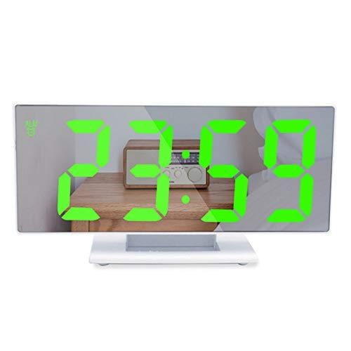 Reloj Digital Led con Alarma, RepeticióN MultifuncióN, Espejo, Pantalla De Tiempo, LáMpara De Escritorio LCD Nocturna, Cable USB, Reloj Digital