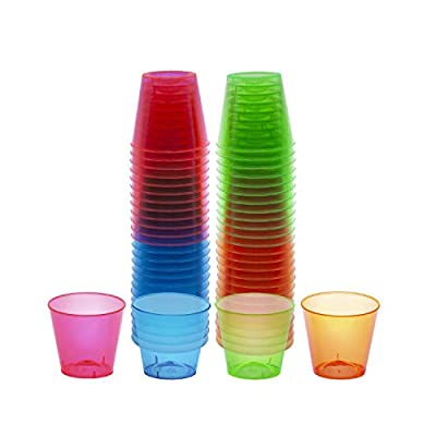 Party Essentials N15090 Hard Plastic 1-Ounce Shot Glasses, 50-Count, Assorted Neon