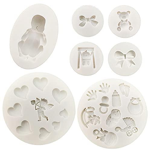 VEINARDYL - Stampo in silicone per fondente in 3D, per decorare torte, cupcake, progetti di pasta di gomma, resina e argilla polimerica, 7 pezzi