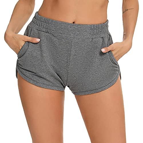 Wayleb Damen Sweat Shorts Baumwolle Sport Kurze Hose Laufshorts Jogginghose mit Taschen Lässig Fitness Yoga Gym