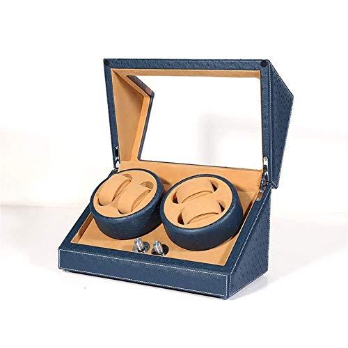 Enrollador automático de reloj Pantalla de relojes dobles 5 modos Estuche de almacenamiento de madera Pintura de piano Negro Brillo Motor silencioso de lujo Enrollador de reloj de pulsera Rotador 2