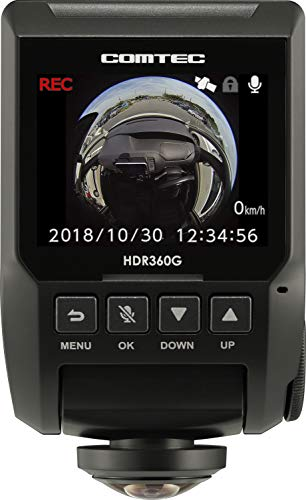 コムテック 360度全方向対応ドライブレコーダー HDR360G 340万画素 ノイズ対応 夜間画像補正 LED信号対応 ...