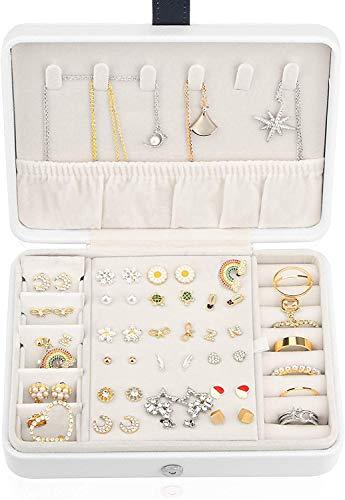 Recet Joyero para niñas y mujeres, pequeño, piel sintética, para viajes, joyas o anillos