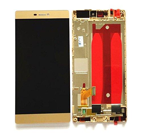 Premium ✔ kompl. Pantalla táctil LCD con Marco para Huawei Ascend P8Gra de ul10(Oro)–Complete LCD Display Assembly with Frame–Incluye Nano–Set de 3en 1de limpieza de–Gold