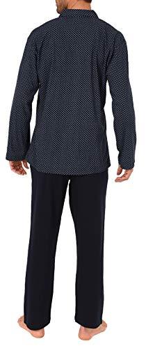 Normann Herren Pyjama Schlafanzug lang zum durchknöpfen - auch in Übergrössen bis Gr. 70-191 101 90 519, Farbe:Marine, Größe2:56