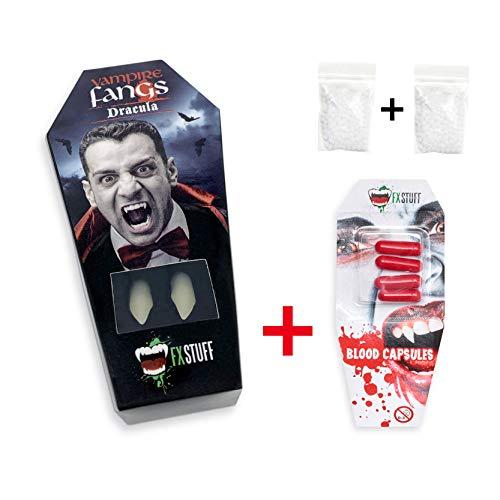 FXSTUFF Dracula Vampirzähne + Kunstblut Kapseln + Abformmasse (wiederverwendbar)