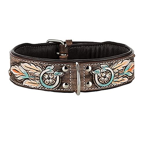 MICHUR Halona Hundehalsband Leder, Lederhalsband Hund, Halsband, Leder, Indianer, Schwarz Braun, in verschiedenen Größen erhältlich