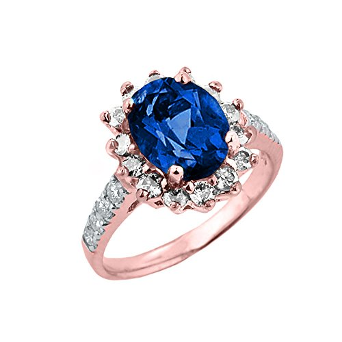 Rose 9 ct Gold Diamond and Sapphire (LCS) September Birthstone Proposal Ring DII