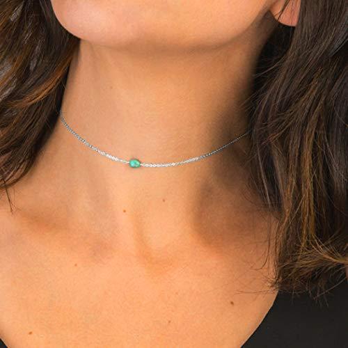 Jovono Turquesa Gargantilla Collares pendientes Moda Collar Joyas de cadena para mujeres y niñas (Plata)