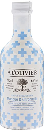 A l'Olivier - Fruchtige Vinaigrettes (Salatsauce) mit Mango & Limone im Glasflakon 200 ml
