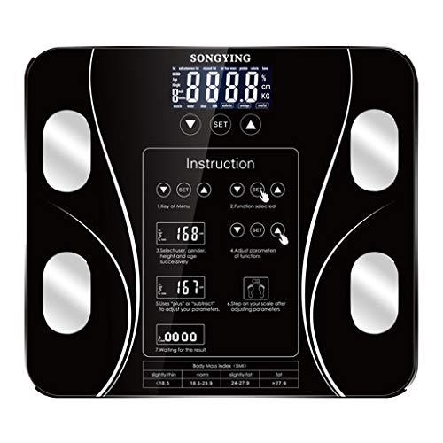 Vokmon Báscula de Baño - Báscula Grasa Corporal - Báscula Inteligente con Pantalla LCD - Dígitos Grandes, Capacidad de 180 kg-Apagado automático Báscula Analógica Monitores de composición Corporal