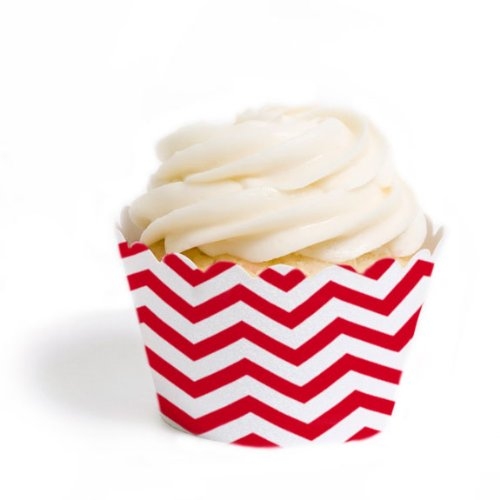 Dress My Cupcake Standard Cupcake Wrappers, Chevron, Red, Set of 50