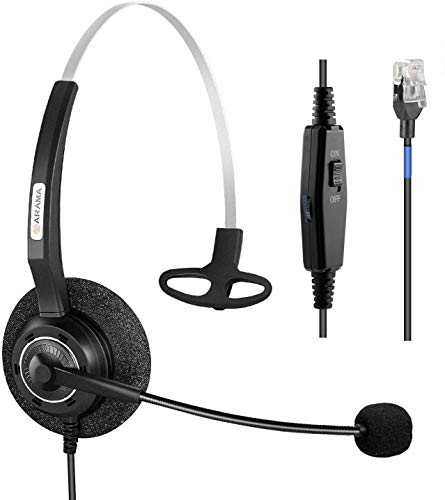 Arama Phone Headset RJ9 with Pro Noise Canceling Mic and Mute Switch Controls Wired Headset for Polycom Mitel Plantronic Nortel Shoretel Aastra Avaya Lucent Landline Phones-200MS2