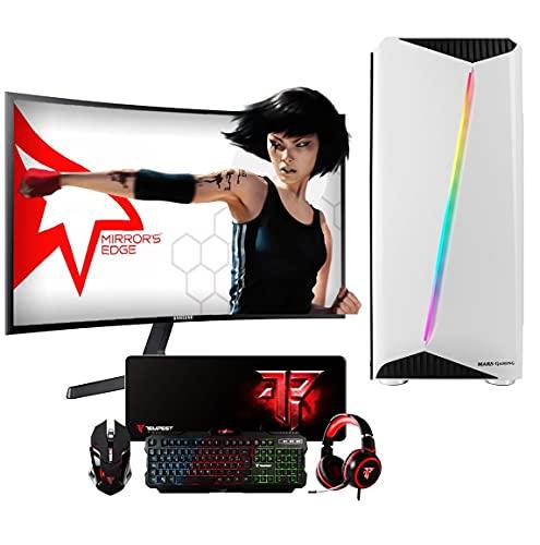 PC Gaming Ordenador de sobremesa Megamania AMD Ryzen 5 1500X 3.7GHz Turbo Quad Core | 16GB DDR4 | SSD 480GB | Gráfica Nvidia GT710 + Monitor LED Curvo 24' + Kit Teclado ratón Regalo