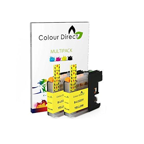 2 X Amarillo Colour Direct LC223 Tinta Compatible Cartuchos Por Brother DCP-J4120DW , DCP-J562DW , MFC-J4420DW , MFC-J480DW , MFC-J4620DW , MFC-J4625DW , MFC-J5320DW , MFC-J5620DW , MFC-J5625DW
