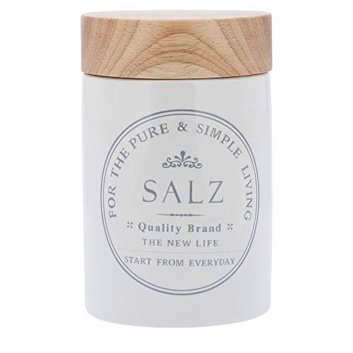 KHG Vorratsdose Salz aus weißer Keramik mit Holz-Deckel Salzlager