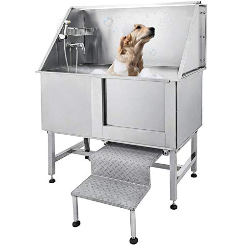 Tuorren 50 Inch Dog Grooming Tub Professional Stainless Steel Pet Dog Bath Tub with Steps Faucet & A