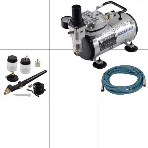Agora-Tec® Airbrush Komplett-Set EXPERT I, inkl. Kompressor mit 4 bar und 20l/min + 1 Stück Airbrushpistole mit 0,8mm Nadel und Düse + 1 Schlauch + Adapter