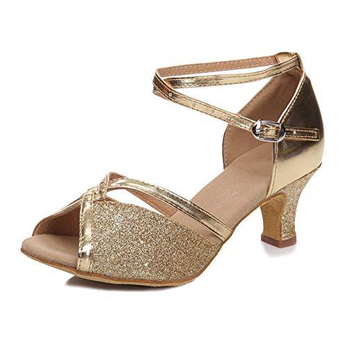 YFCH Damen Outdoor Standard & Latein Schuhe Tanzschuhe Peep-Toe Tanz Schuhe Sandalen Pumps mit 5CM Absatz, Gold Glänzend, 37.5/38 EU(Label: 39)