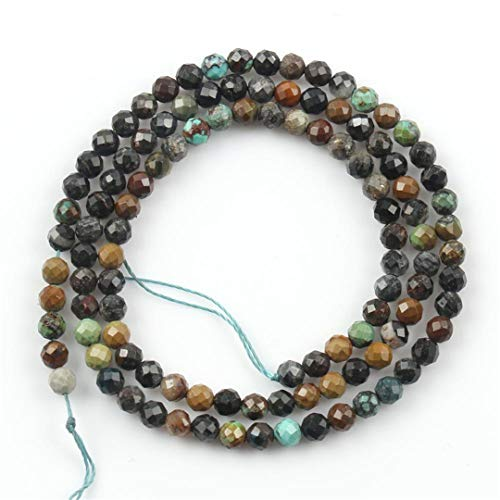 Caviland Natural Faceted Sunstone Labradorite Jaspers Agates Lapis Lazuli Amazonite Opal Stone Beads For DIY Jewelry Making Bracelet 15'' African Turquoise 3mm (approx 110pcs)