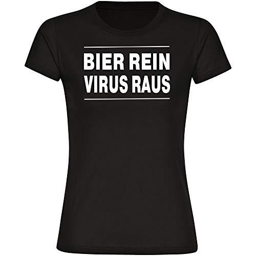 Dames T-Shirt Bier zuiver - virustreep - zwart - maat S - 3XL - Shirt coronagnoen covid 19 covid-19 virussen quarantäne