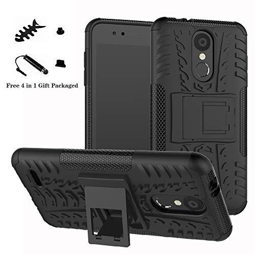 LiuShan LG K8 / K9 2018 Funda, Heavy Duty Silicona Híbrida Rugged Armor Soporte Cáscara de Cubierta Protectora de Doble Capa Caso para LG K8 / K9 2018 Smartphone,Negro