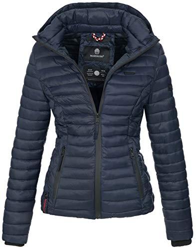 Marikoo Damen Jacke Steppjacke Übergangsjacke mit Kapuze gesteppt B600 [B600-Samt-Blau-Gr.S]